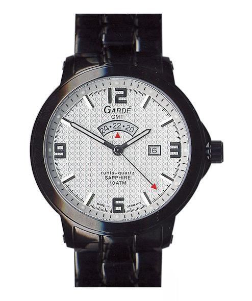 Taschenuhren modern  GMT Herrenuhr modern schwarz Garde Ruhla Sport 91199 Saphir ...