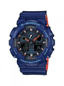 Casio G-Shock Uhr GA-100L-2AER blue orange - analog-digitale Anzeige