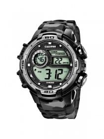 Calypso Watch K5723/3 Digital Herrenuhr Chronograph, camouflage schwarz-grau