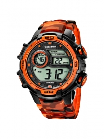 Calypso Watch K5723/5 Digital Herrenuhr Chronograph, camouflage schwarz-orange