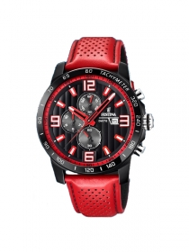 Festina Herrenuhr Originals Chronograph Lederband rot