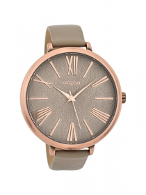OOZOO Damenuhr groß C9559 rose Lederbanduhr - 48 mm