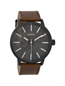 OOZOO Herrenuhr C9601 Paint-Look Lederband 45mm